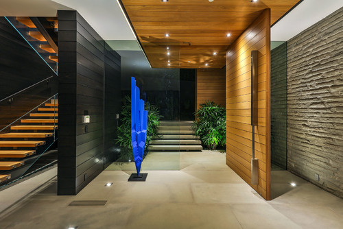 Large open pivot door in a modern contemporary hall