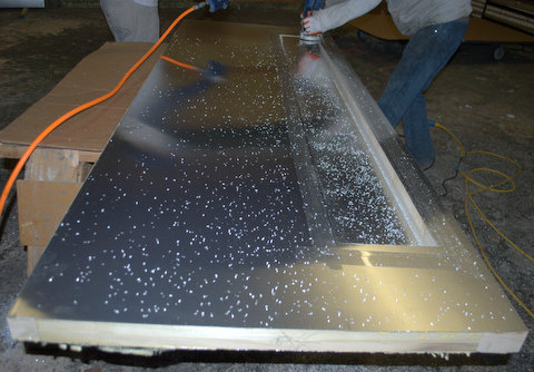 Glass singcore large pivot door panels